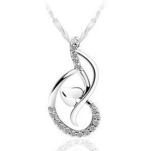 Amor danza colgante blanco chapado en oro 925 collar de plata esterlina colgante corazón colgante joyería no cadena