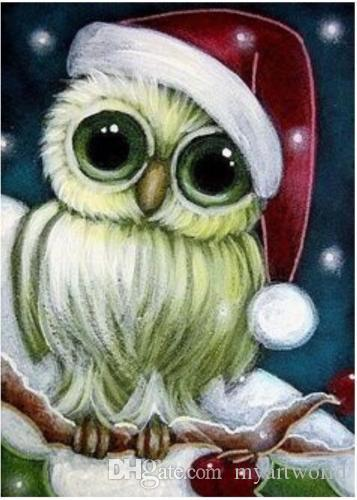 2018 cute christmas owl pure hand painted animal art oil painting on high quality canvas customized size accepted springgalle from myartworld - Owl Christmas