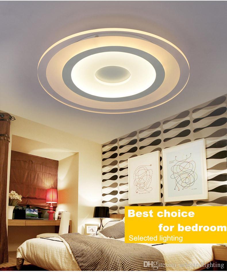 Moderno Led Luces de Techo Lámpara de Superficie Montada Salón Dormitorio Oscurecimiento Redondo Lámpara de Techo Luminaria Hogar Control Remoto 110 V 220 V