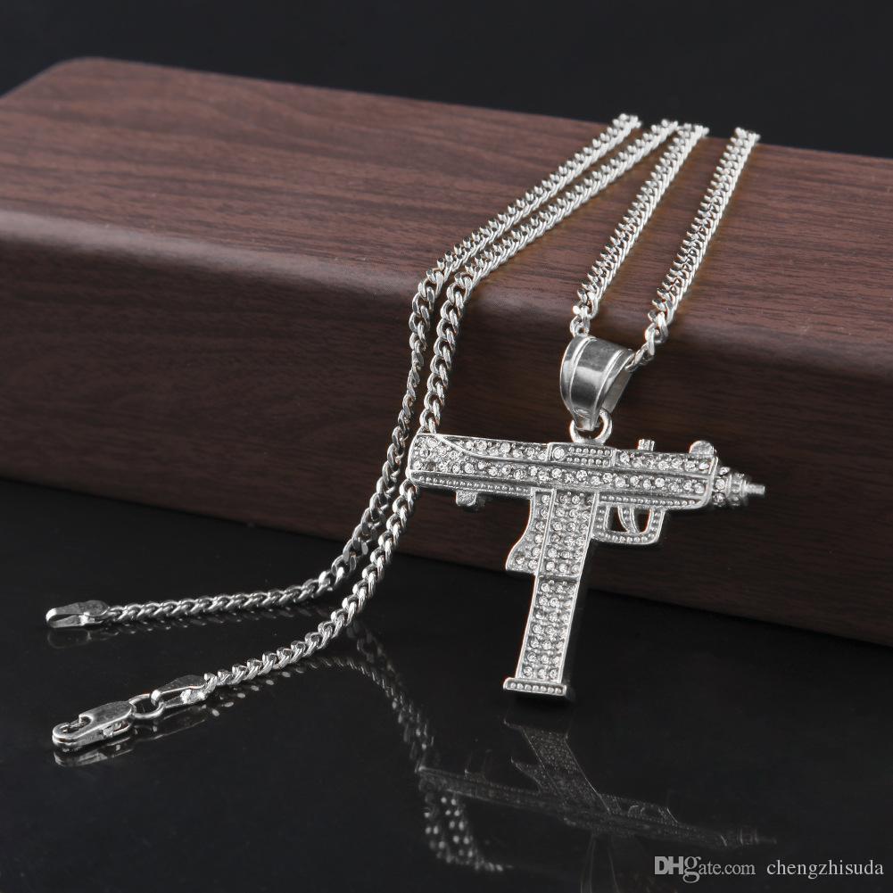 Collana pendente ciondolo Hip Hop 18 carati placcato oro argento ciondolo a forma di ciondolo con diamanti CZ