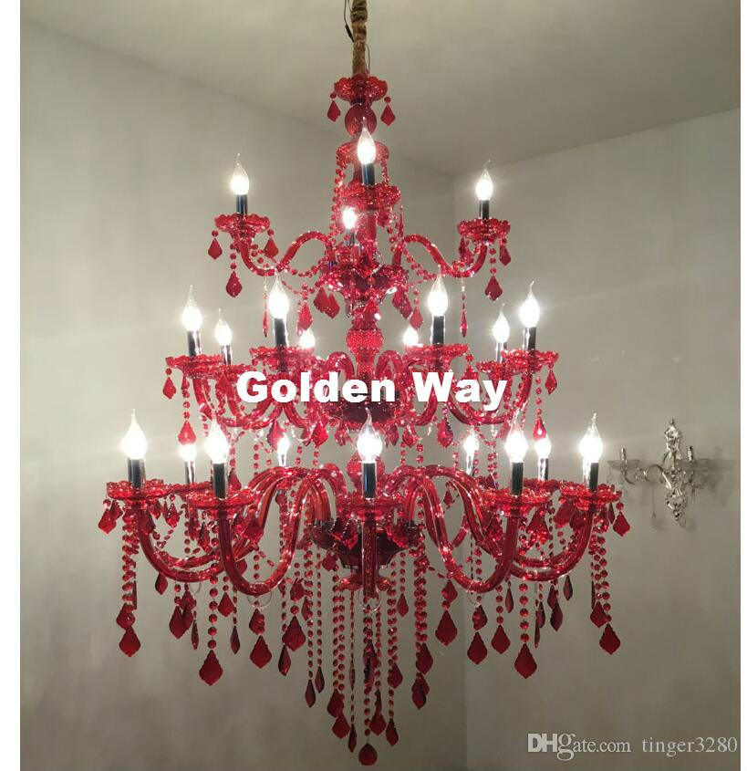 Livraison gratuite Modern Luxury cristal rouge Lustre 24L LED D110CM H120cm moderne Cristal Salon Chambre Lustre