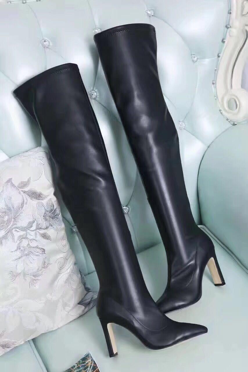 venda! Navio grátis! U757 40 5 cores de couro genuíno esticar as pontas pontiagudas botas altas sobre os joelhos sexy azul vermelho preto cinza