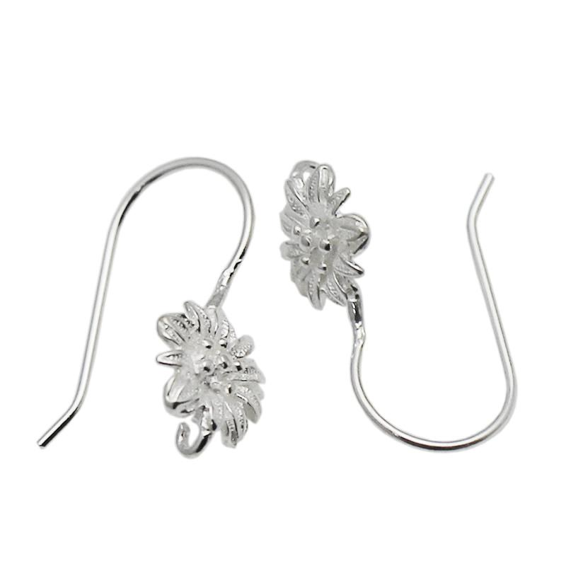 Beadsnice Handmade Sterling Silver Ear Wires Ear Hook Flower Earring Components DIY Jewelry Accessories ID 34938