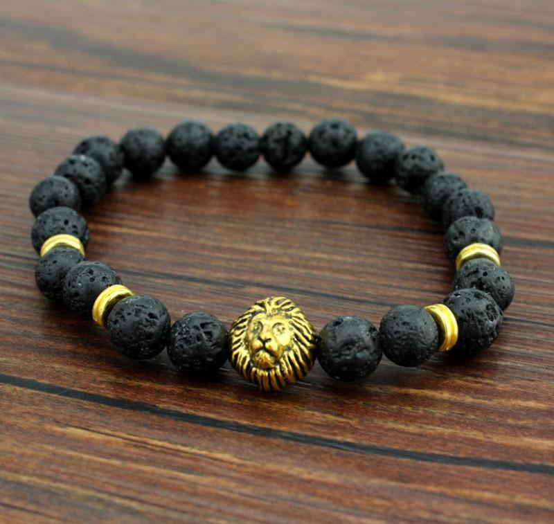 Volcanic Stone Lions Head Bracelet Fashion Buddhist Buddha Meditation Beads Bracelets For Men Statement Jewelry Prayer Beads Bracelet