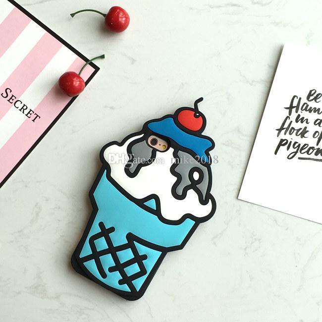 Для iphone 6 6 S чехол горячие 3D кремния кекс мороженое стиль симпатичные мягкие сотовый телефон обложка чехол для iphone 6 6 S 4.7 дюймов