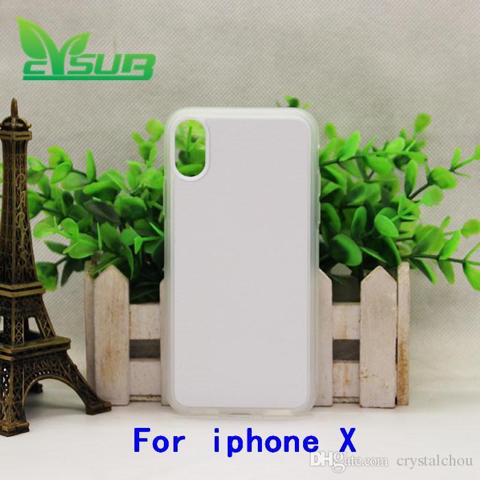 Sublimación 2D TPU + pc Funda de goma para iPhone X casos con placas y pegamento
