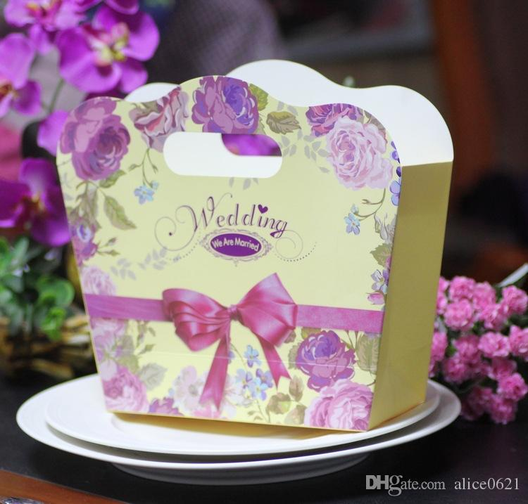 Big Size Wedding Favors and Gift Box Peony Flower Handbag Candy Box For Wedding Souvenirs To Guests