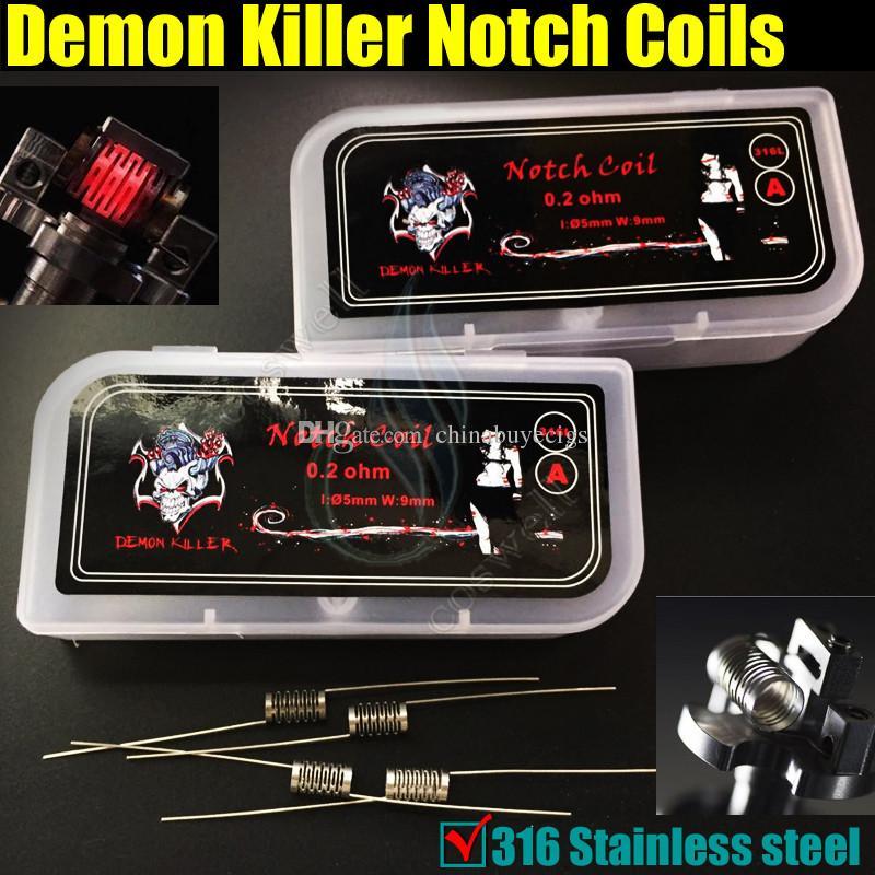 Demon Killer Notch Coils SS316L 316 Alambre de precalentamiento de acero inoxidable 0.2ohm Teoría de Wismec RTA Mods RDA Atomizadores Bobina de alambre reconstruible DHL