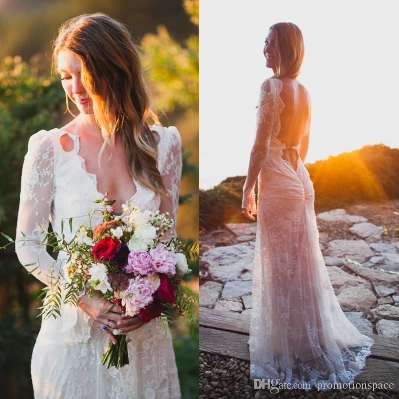 Discount 2016 Bohemian Style Wedding Dresses Vintage Sexy Backless Long Sleeve White Lace Beach Country Wedding Dress Bridal Gowns Wedding Dresses