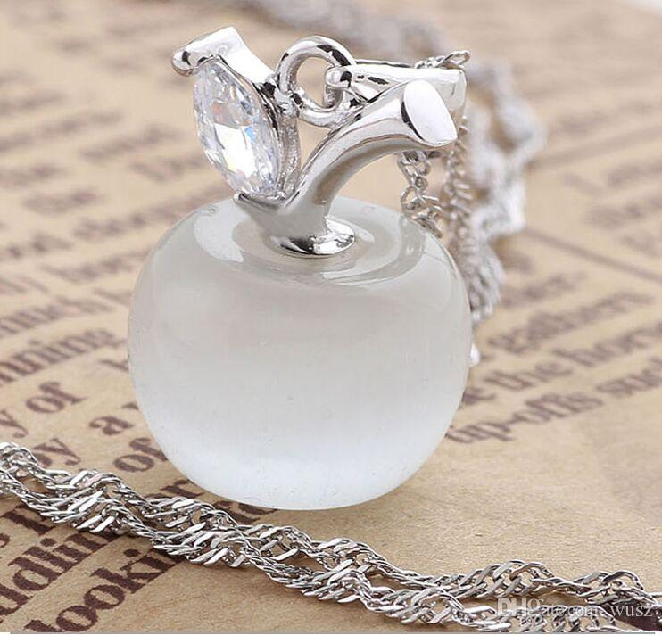 Hot Selling! 925 Sterling Silver Opal Cat's Eye Pink White Apple Necklace Pendant Christmas Wedding Party Birthday Gift