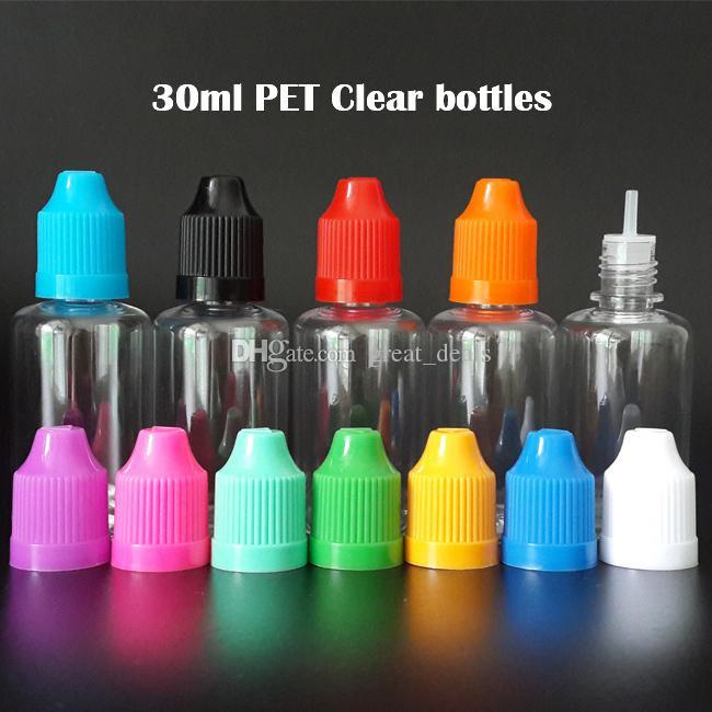 Botella de líquido más barata E 5ml 10ml 15ml 20ml 30ml 50ml botella de plástico vacío de la mascota con gorras de galums a prueba de niños coloridas puntas de gotero fino largo