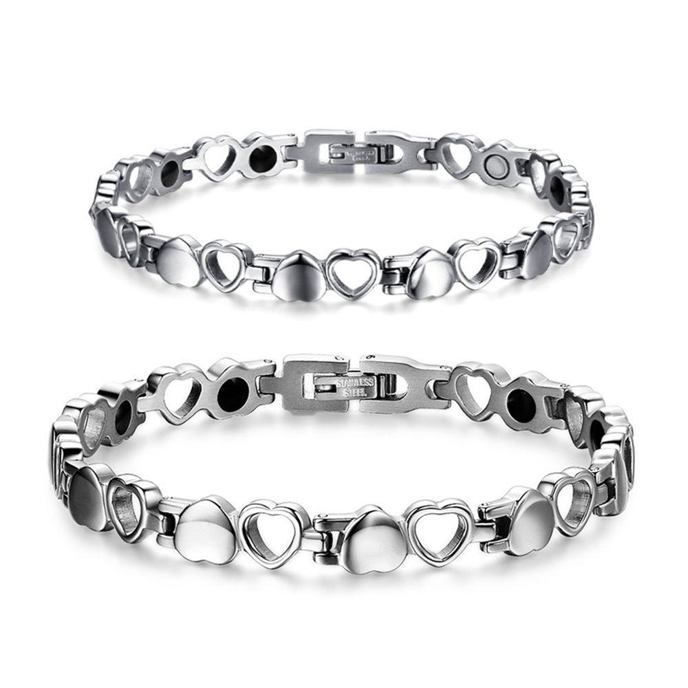41a3eca5161b Pulsera de moda para mujer de plata de acero inoxidable pulseras brazalete  terapia magnética accesorios de joyería de iones negativos germanio ...