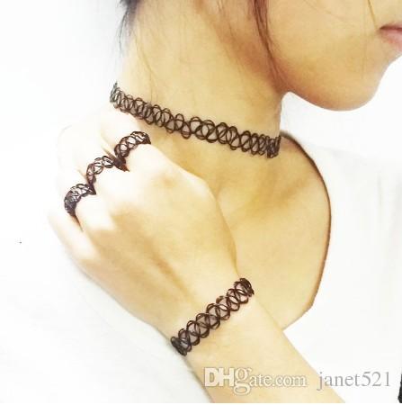 50b12a8aa858 Juego de gargantillas de tatuaje vintage punk de doble línea de henna  tatuaje de goma clásico elástico anillos elásticos pulsera collares  conjuntos