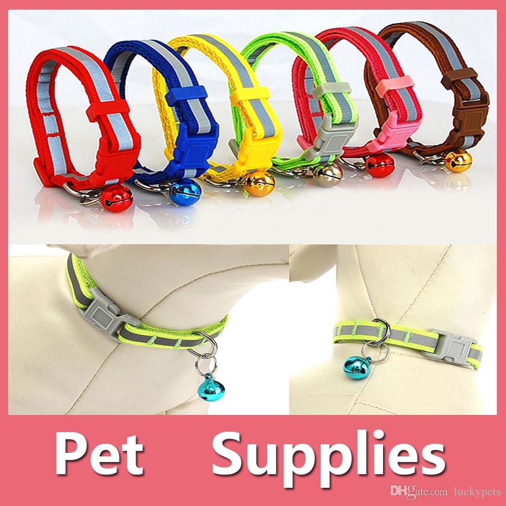 Colorful Pet Dog Puppy Cat Kitten Soft Glossy Reflective Collar Safety Buckle with Bell Pet Supplies