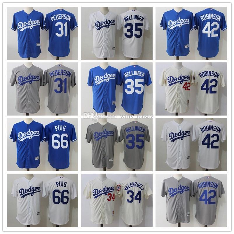 blue cool base jersey 2017 mens los angeles dodgers 31 joc pederson 42 jackie robinson 35 cody belli