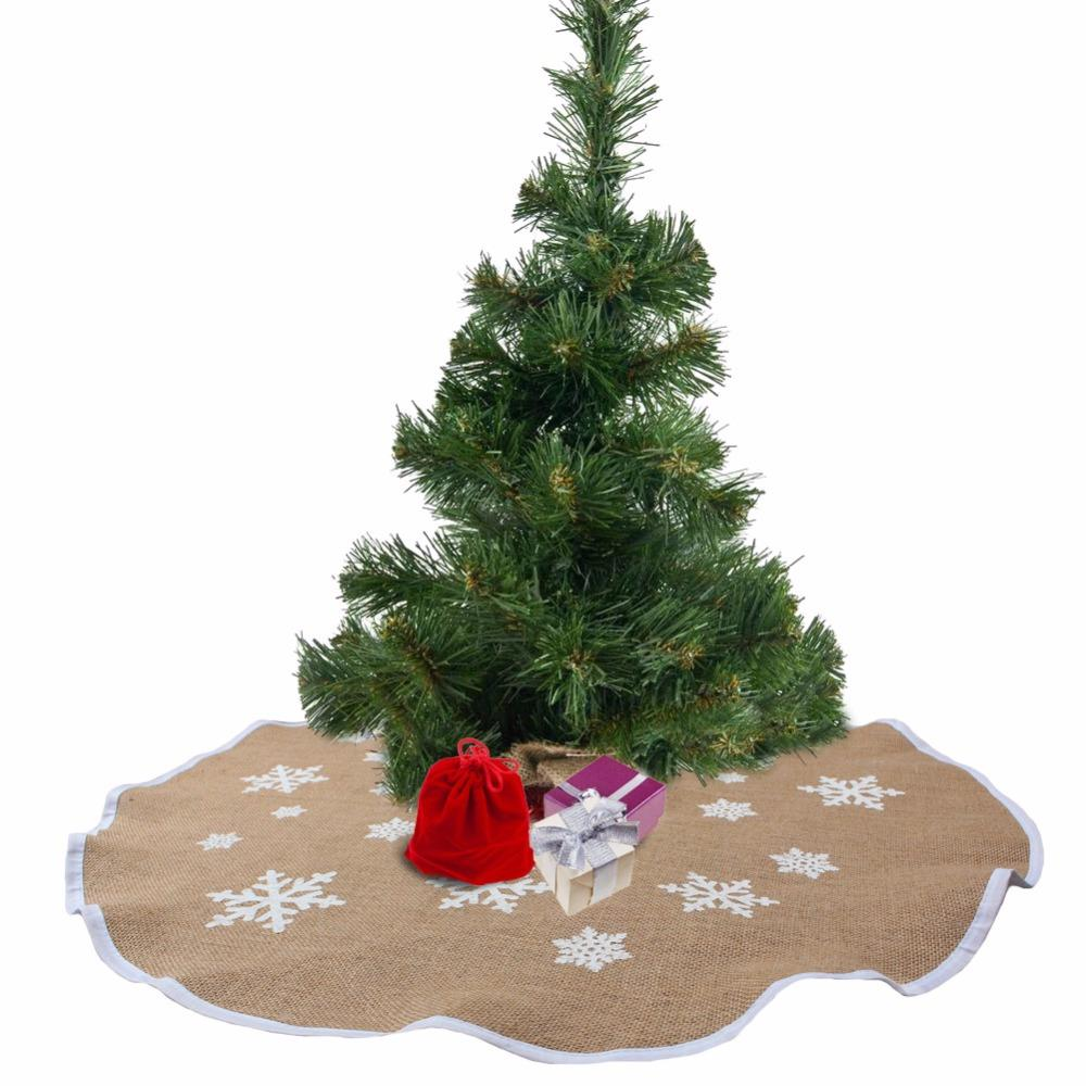 Wholesale Ourwarm 1pc 30 48 Inch Burlap Snowflake Christmas Tree Skirts Christmas Decorations For Home