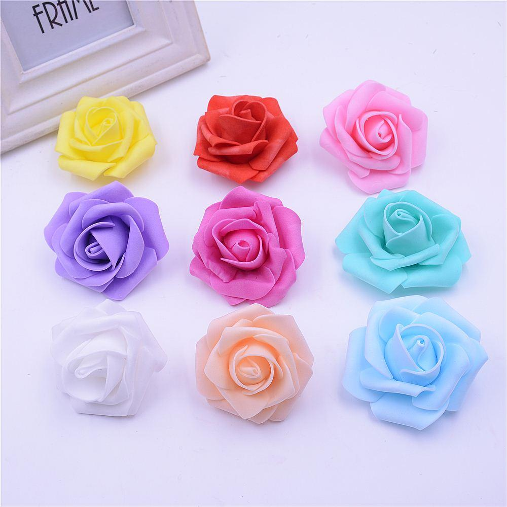 10pcs/lot Cheap 6cm Foam Artificial Rose Flowers Head For Wedding Car Decoration DIY Decorative Rose Scrapbooking Craft Flores