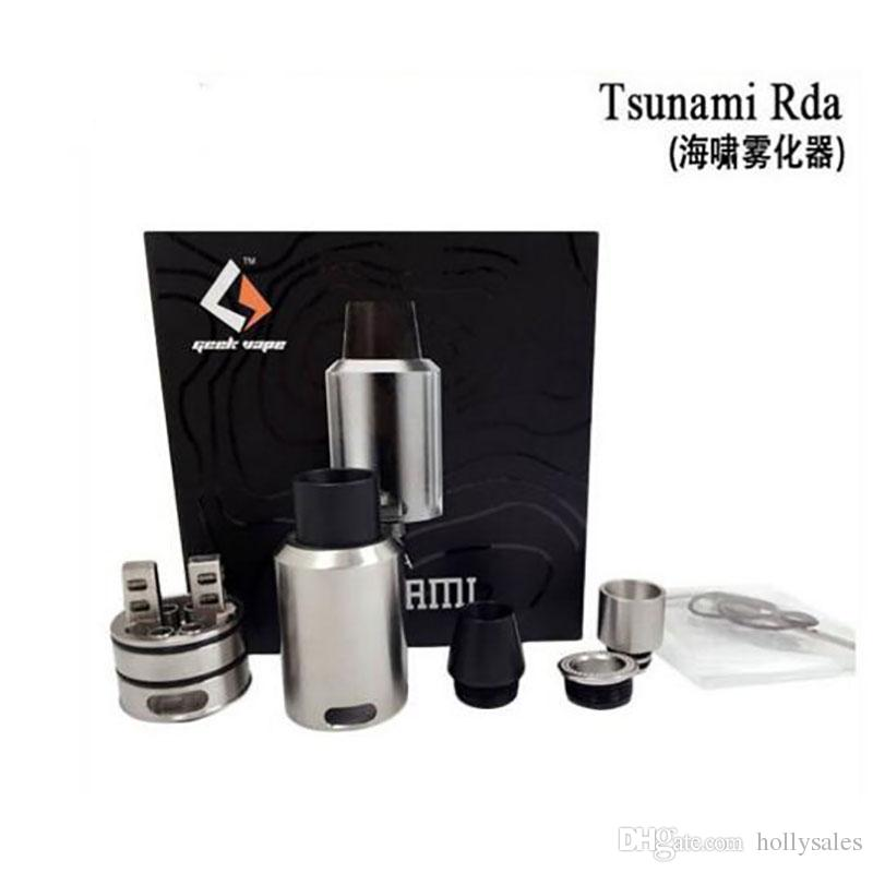 GeekVape Tsunami RDA Atomizer With Improved Velocity Style Deck Adjustable Kennedy Style Airflow wide bore Drip Tip Rebuidable Tank