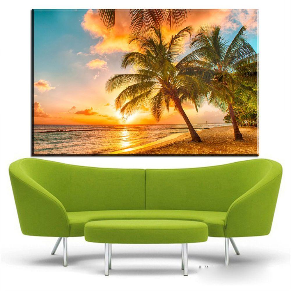 ZZ1929 modern decorative canvas art coconut tree sunrise beach landscape canvas pictures oil art painting for livingroom bedroom