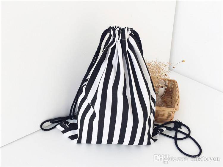 أبيض وأسود شريط قماش ظهره حقيبة رسم سلسلة الكتفين حقيبة قماش حقيبة مدرسية حقيبة طلاب المدارس أكياس التسوق