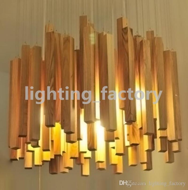 Heißer Verkauf LED Holz Pendelleuchte 220 V Kreative Meteor Regen Deckenleuchte Meteoric Dusche Treppenlicht D60 / 80/100 cm