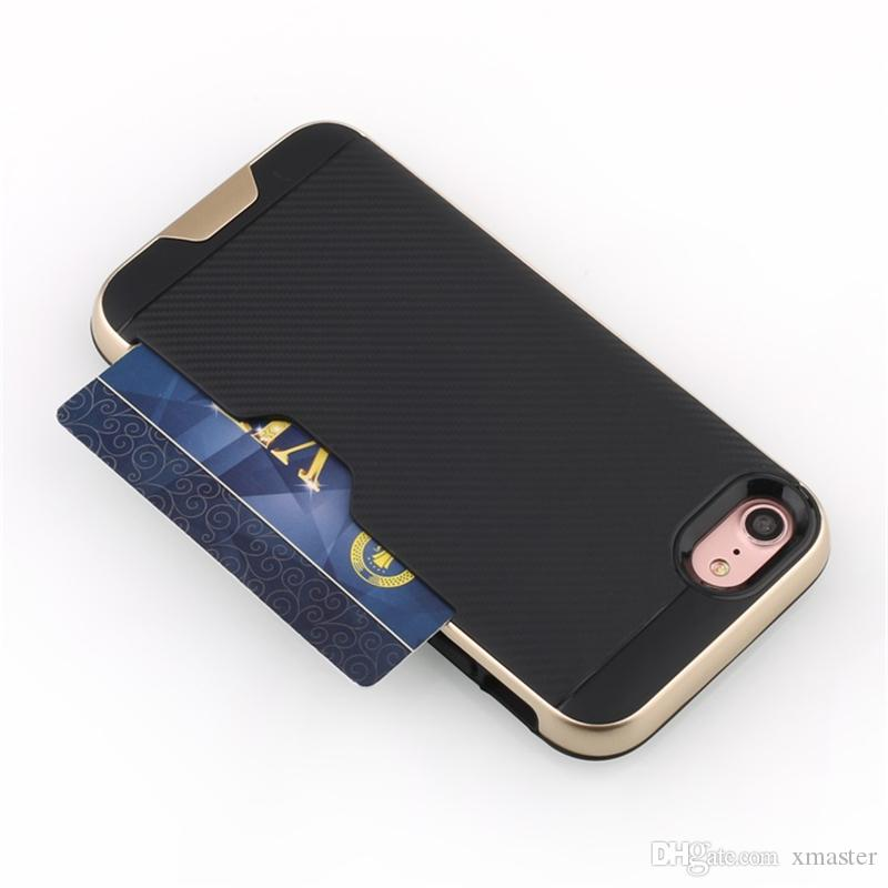 para iPhone X 8 7 7Plus2 en 1 Estuche de Diseño de Ranura para Tarjeta de Crédito disipar calor para Samsung S8 S8plus S7 S7plus LG G6