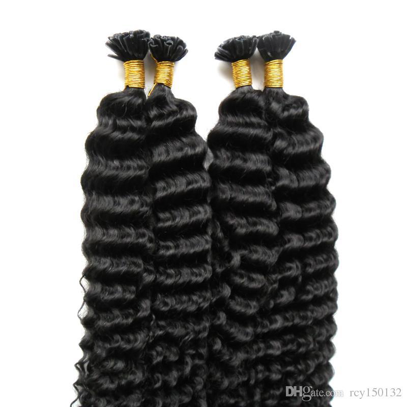 Brazilian kinky curly fusion hair extensions 200g Keratin Human Fusion Hair Nail U Tip 100% Remy Human Hair Extensions