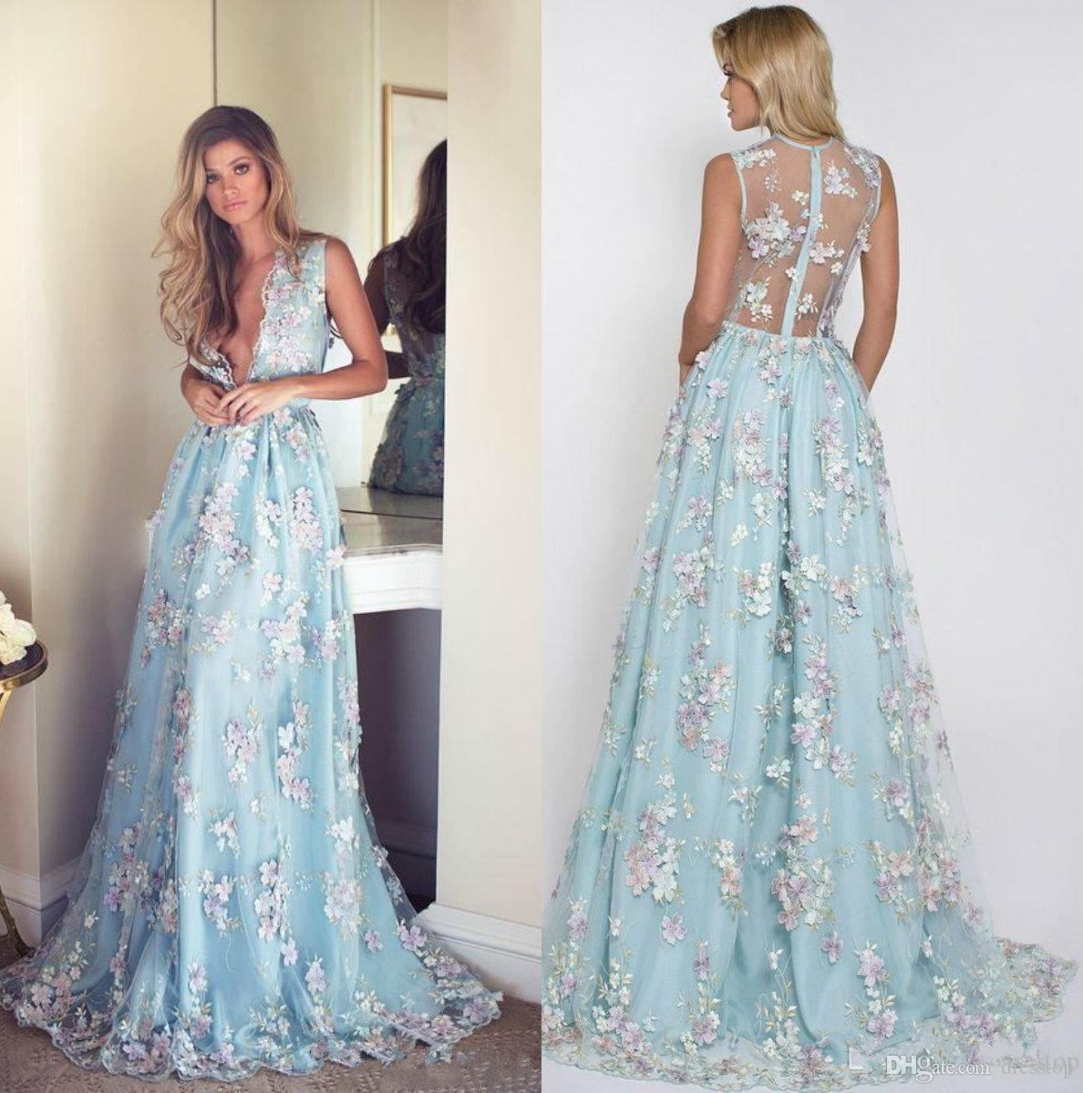 Sexy 3d Floral Appliqued Prom Dresses Long Deep V Neck Party Dress ...