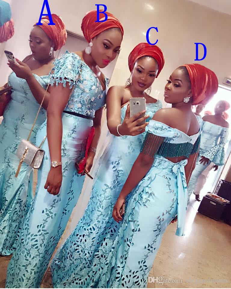 Cheap Beautiful Plus Size Sexy Long Bridesmaid Dresses 2016 Mermaid Blue Beaded Satin African Party Prom Dresses
