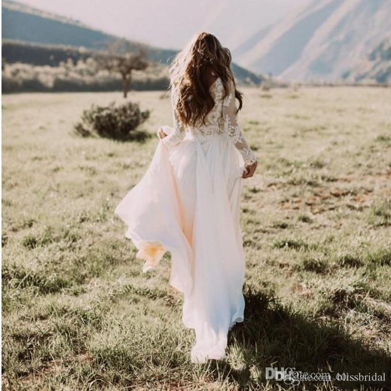 Bohemian Country Bröllopsklänningar med rena Långärmade Bateau Neck En Line Lace Applique Chiffon Boho Bridal Gown Cheap