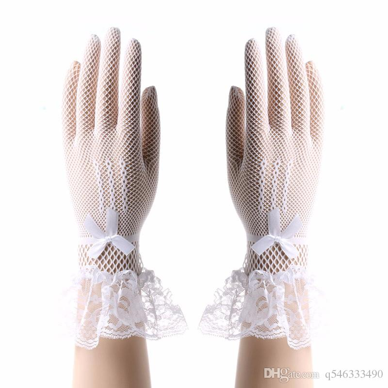 2017newWomen Lady Lace Gloves Cat Bowknot Party Prom Bride Wrist Mittens