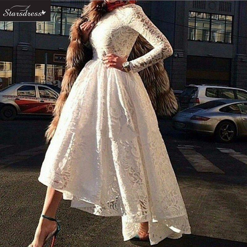 Nova Chegada 2016 Branco A Linha Scoop Mangas Compridas Rendas Formal Vestidos de Noite Encantador Lindo Vestido De Festa Prom Vestido