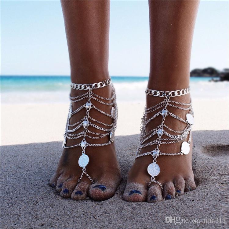 Barefoot Sandals Stretch Anklet Chain with Toe Ring Slave Anklets Chain Retaile Sandbeach Wedding Bridal Bridesmaid Foot Jewelry CB207