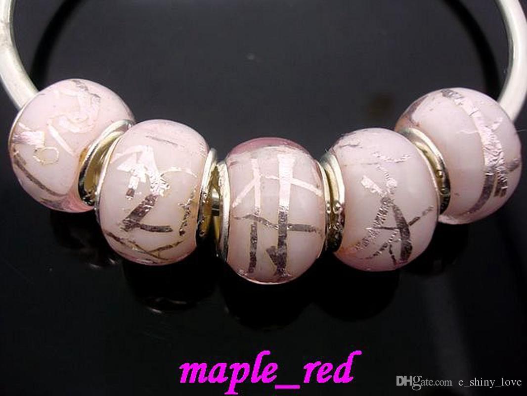 100 unids mezclado cuentas de cristal de Murano de Murano rosa para la joyería que hace el encanto flojo granos de DIY para la pulsera europea al por mayor en el precio bajo a granel
