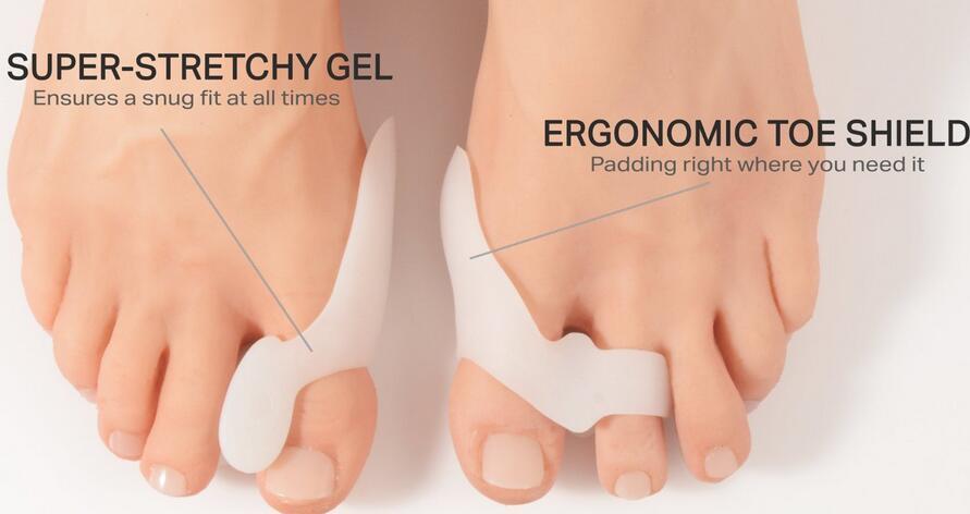 Thumb Valgus Protector Силиконовый гель для пальцев ног Сепаратор пальца ноги с двумя отверстиями Регулировщик пальца стопы Hallux Valgus Массажер для ног