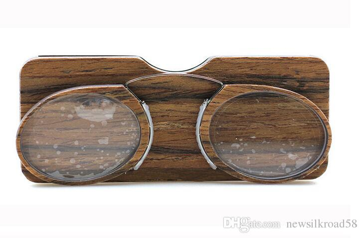 New Wood print Wallet Reading Glasses Sticky clip Nose reading glasses With box TR card +1.0+1.5+2.0+2.5+3.0+3.5