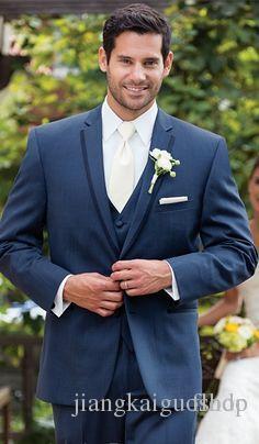 2016 Bleu Hommes Costumes De smoking De smoking pour Hommes Slim Fit Custom Made Trois Pièces Grooms Tuxedo Groomsmen Costumes Manteau + Pantalon + Gilet