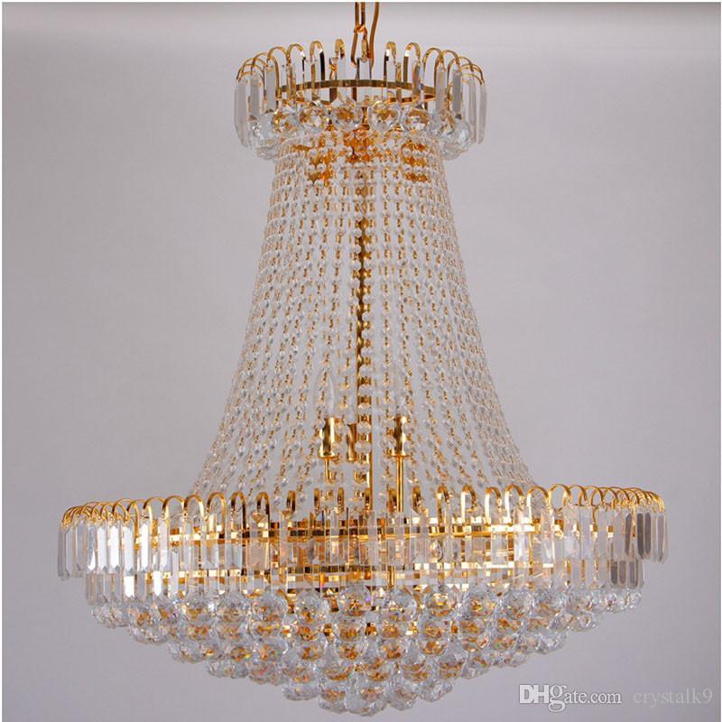 شحن مجاني الإمبراطورية الملكي الذهبي كريستال الثريا ضوء الفرنسية كريستال قلادة أضواء السقف d500mm x H450mm