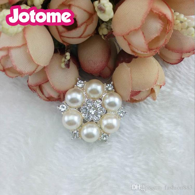 Decorative Rhinestone Pearl Flower Bead Buttons DIY Craft Embellishment for Wedding Clothes Hair Accessories Gift Decoration