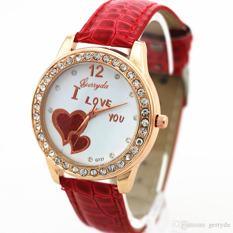 PVC leather belt,gold case with rhinestone deco,two UP heart imprint dail,quartz movement,Gerryda fashion woman lady quartz watches,737