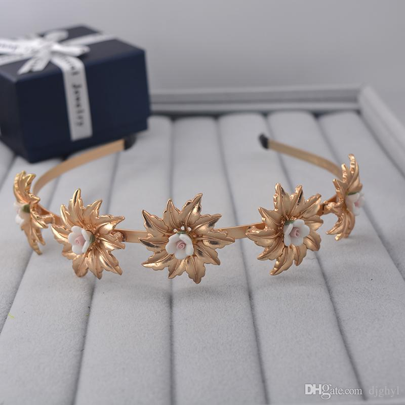 fashion vintage gold baroque retro sunflower pearl headbands crowns wedding hair accessories bridal jewelry pearl headpieces tiaras