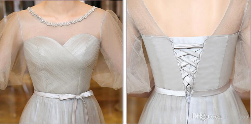 새로운 빈티지 A 라인 신부 들러리 드레스 바닥 길이 얇은 명주 그물 신부 들러리 드레스 절반 슬리브 해변 소녀의 댄스 파티 드레스