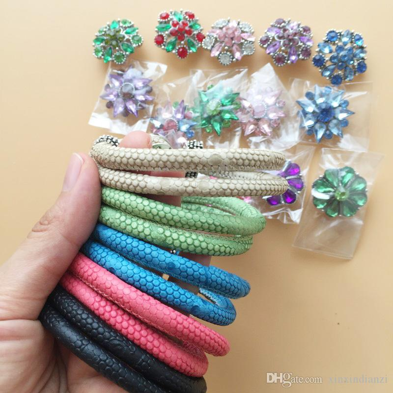 Real Photo 20mm Charms Set Crystal Noosa Snap Buttons PU Leather Bracelets DIY Wristband Adjustable Size Free DHL F338L