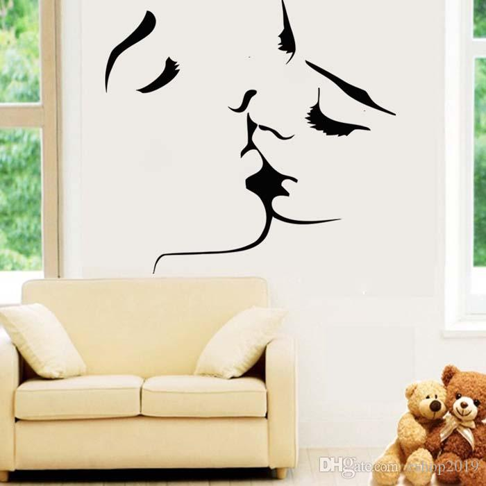 Wall Decals For Living Room 2016 romantic lovers kissing wall decals living room bedroom
