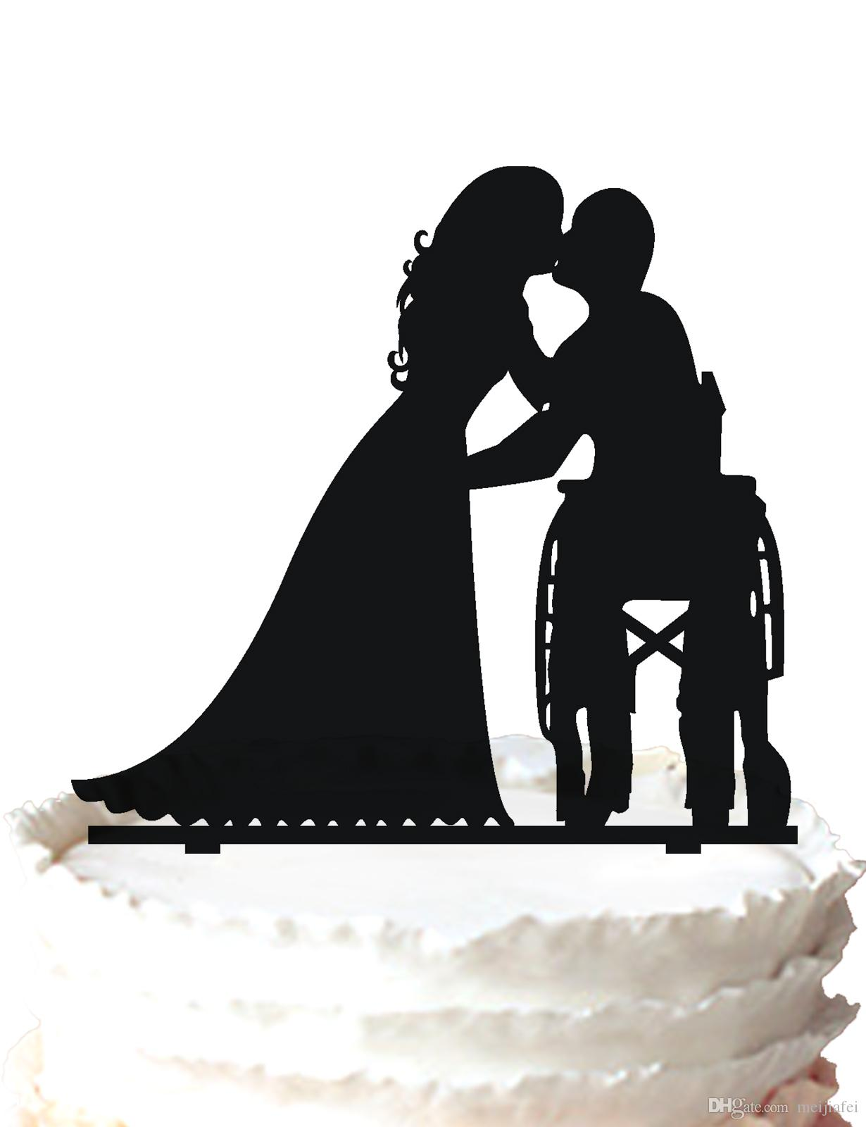 2017 wedding cake topper the groom in wheelchair kissing bride