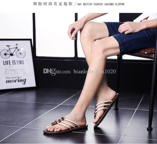 Summer Korean version of men's leather slippers personalized leather sandals summer sandals slip beach sandals England tide dragged