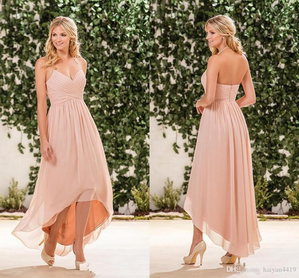 Affordable Wedding Guest Dresses: 2017 Cheap Beach Blush Pink Bridesmaid Dresses Halter