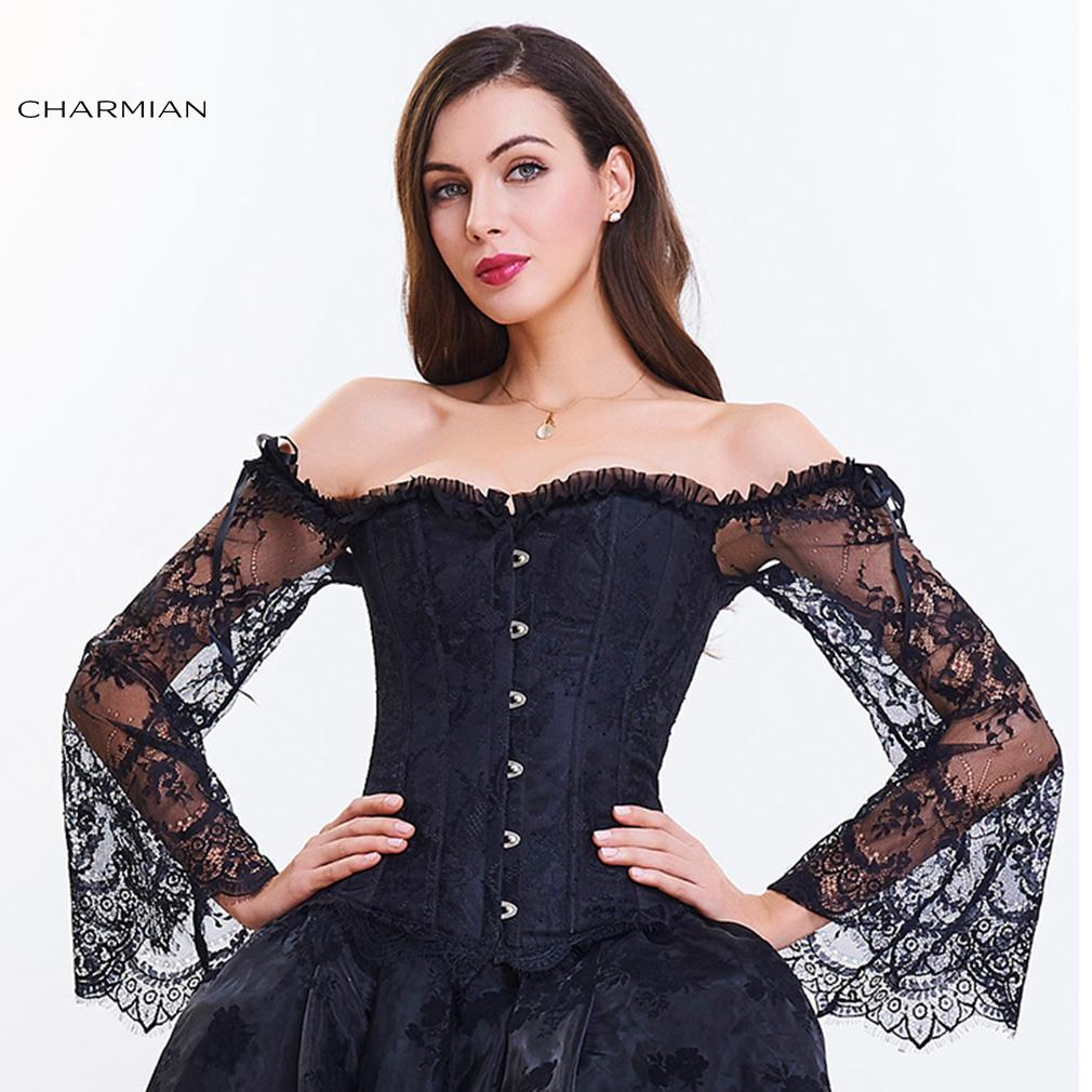 fae73529ed1 2019 Women S Gothic Waist Trainer Lingerie Retro Steampunk Corset Lace Up  Back Sexy Lace Overbust Corsets And Bustiers From Erindolly360c