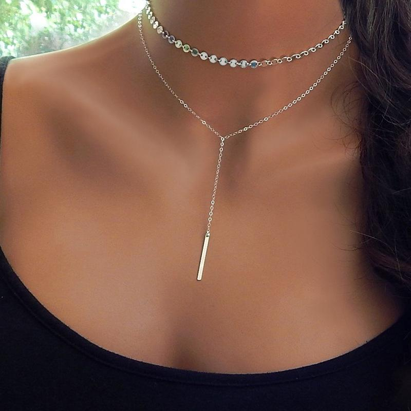 Fashion Boho Coin Choker Layered of 2 Necklace Set Y Lariat Silver gold Bar Pendant Necklace Girlfriend Gift choker