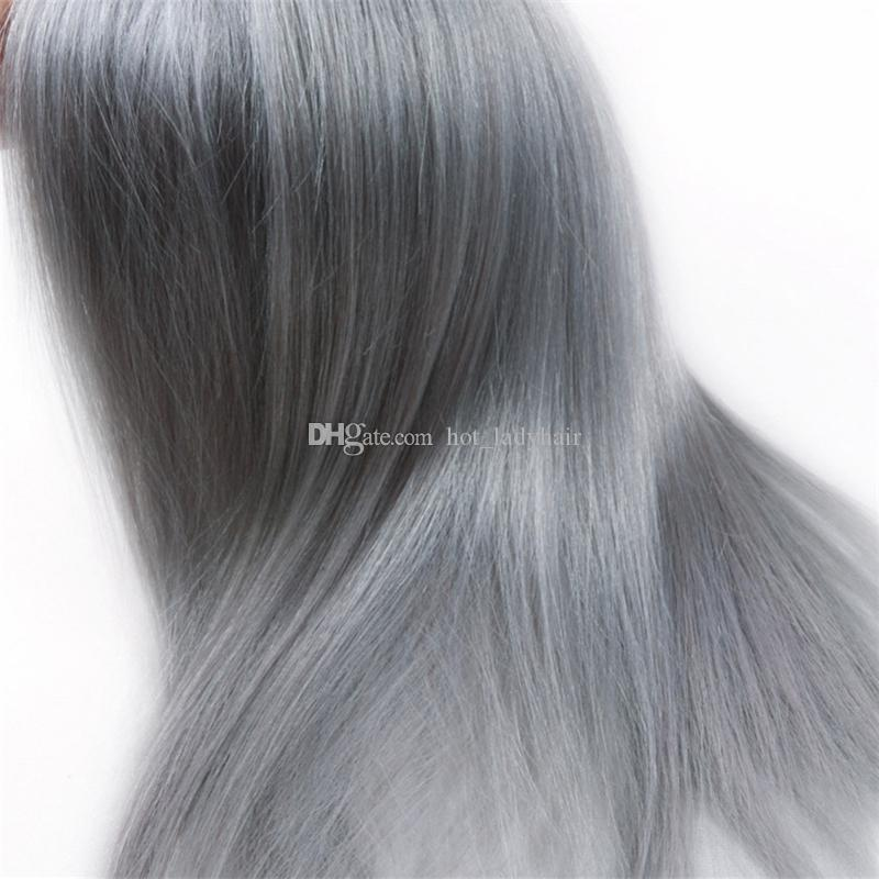 Two Tone 1B Grey Ombre Virgin Hair Weave Bundles Silver Grey Peruvian Virgin Hair Ombre Straight Human Hair Extensions